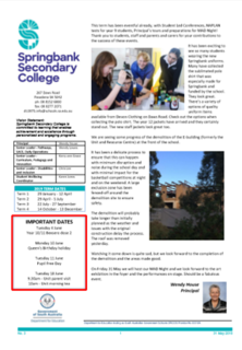 2019 Newsletters Springbank Secondary College
